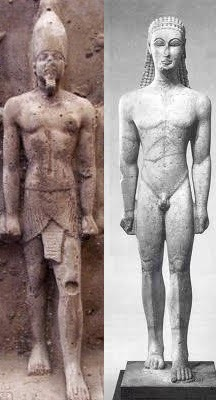 A comparison of Early Greek Art to Ancient Egyptian Statues