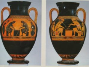 The red figured vase on the right allows for more detail