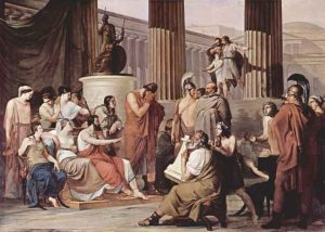 Odysseus at the house of Alcinoos
