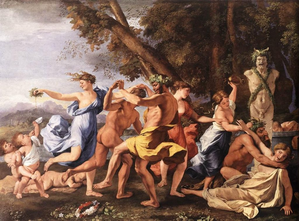 Before a statue of Pan  by. Nicolas Poussin