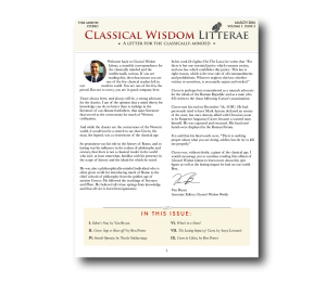Classical Wisdom Litterae Newsletter