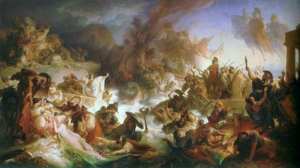 The Battle of Salamis painting