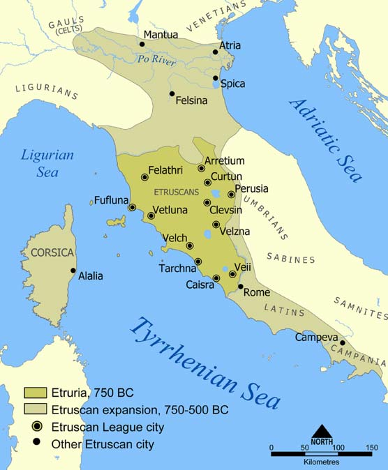 Map of Etruscan civilization