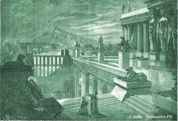 Drawing of the city of Herculaneum
