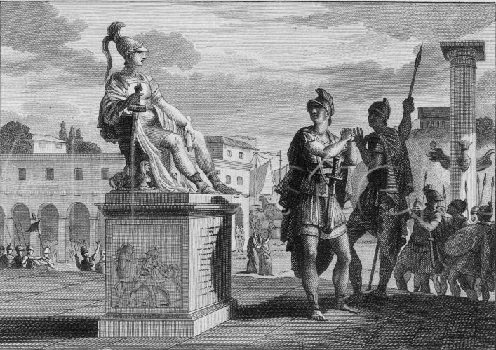 Caesar with the statue of Alexander