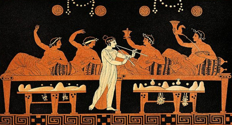 Vase illustration of Greek drinking