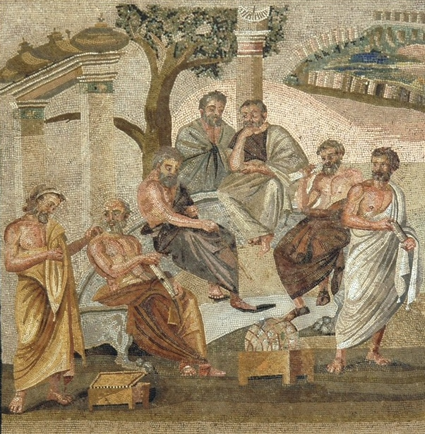 Mosaic of Men discussing