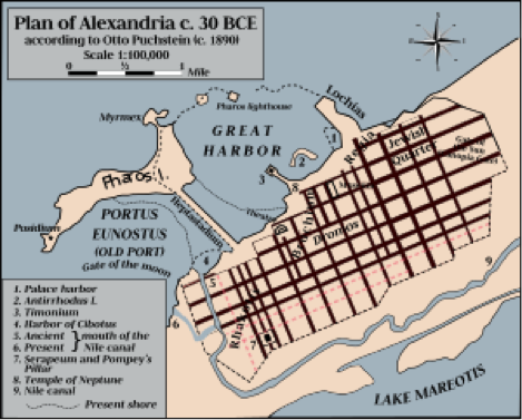 Map of Ancient Alexandria, Egypt