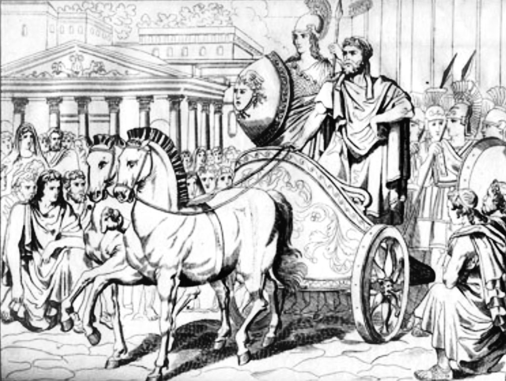 "Illustration of Politician with ""Athena"""