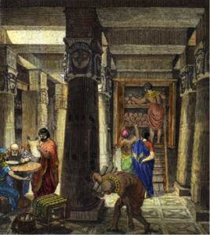 Illustration of the library of Alexandria