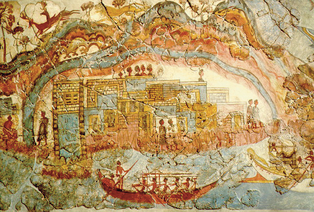 Minoan fresco, showing a fleet and settlement