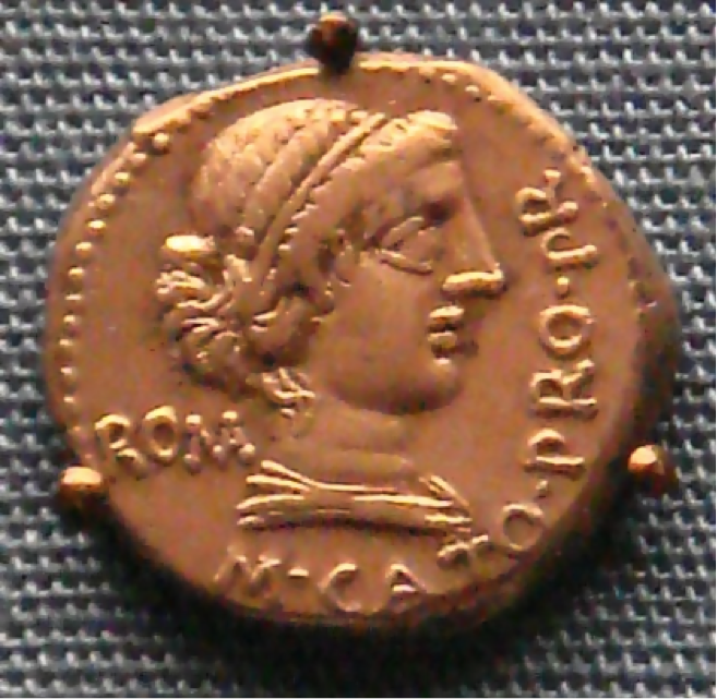 A coin with the portrait of Cato