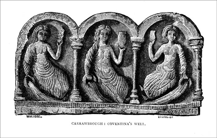 A carving of a trinity of a Celtic goddess