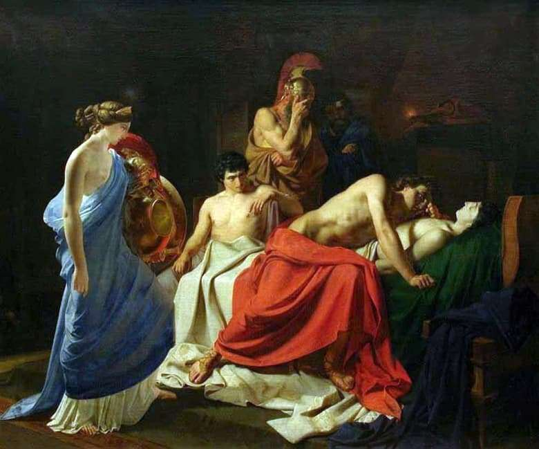 Nikolai Ge painted the painting Achilles Lamenting Patroclus in 1855.
