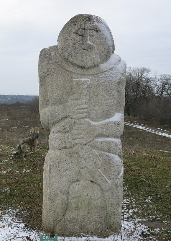 Kurgan stelae of a Scythian at Khortytsia, Ukraine